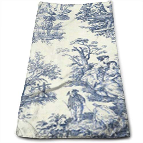 """BLDBZQ Hand Towels Toile De Jouy Wallpaper Face Towels Highly Absorbent Towels for Face Gym and Spa 12"""" X 27.5"""""""