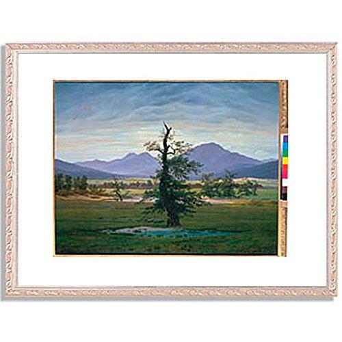 カスパーダヴィッドフリードリヒ「Der einsame Baum (Dorflandschaft bei Morgenbeleuchtung) (see also image number 1433. 1823. 」 インテリア アート 絵画 プリント 額装作品 フレーム:装飾(銀) サイズ:XL (563mm X 745mm) B00NKTPGFC 4.XL (563mm X 745mm)|5.フレーム:装飾(銀) 5.フレーム:装飾(銀) 4.XL (563mm X 745mm)