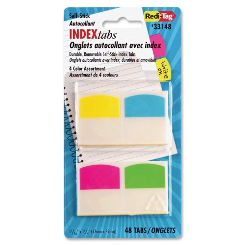 Redi-Tag Products - Redi-Tag - Write-On Self-Stick Index Tabs/Flags, 1 1/16 in, 4 Colors, 48/Pack - Sold As 1 Pack - Write-on tabs accept pen, pencil or permanent marker. - Heavy-duty plastic tabs wont curl or tear. - Self-stick, repositionable and remov (Tab Plastic Tear)