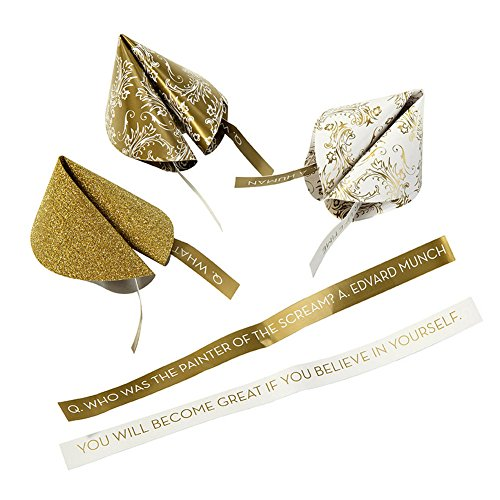 Talking Tables Party Porcelain Gold Fortune Cookie Trivia for a General Celebration, Gold & White (12 Pack)