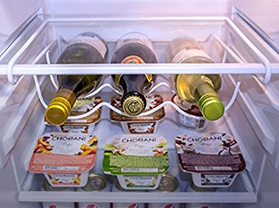 Sorbus® Fridge Wine Rack- Refrigerator Bottle Rack Holds 3 Bottles of Your Favorite Wine or Drink Universal Bottle Holder Will Fit Most Fridges