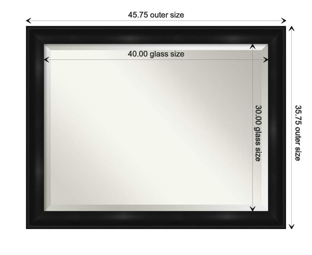 Amanti Art Framed Vanity Mirror | Bathroom Mirrors for Wall | Grand Black Mirror | Wall Mounted Mirror | X-Large Mirror | 35.75 x 45.75 by Amanti Art