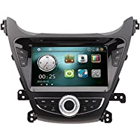 KKmoon 8 Inches Double-Din Car DVD Bluetooth Player & Receiver In Dash Car GPS Navigatio Radio Car PC Stereo Head Unit for Hyundai Elantra 2014 with Free Map & Free Card