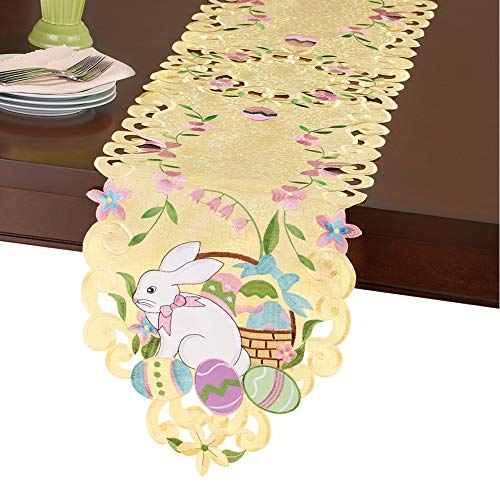 Collections Etc Easter Bunny and Basket Table Linens Yellow Runner, Yellow, Runner