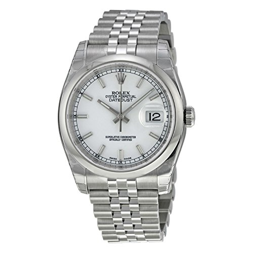 Rolex Mens New Style Heavy Band Stainless Steel Datejust Model 116200 Jubilee Band Stainless Steel Smooth Bezel White Stick -
