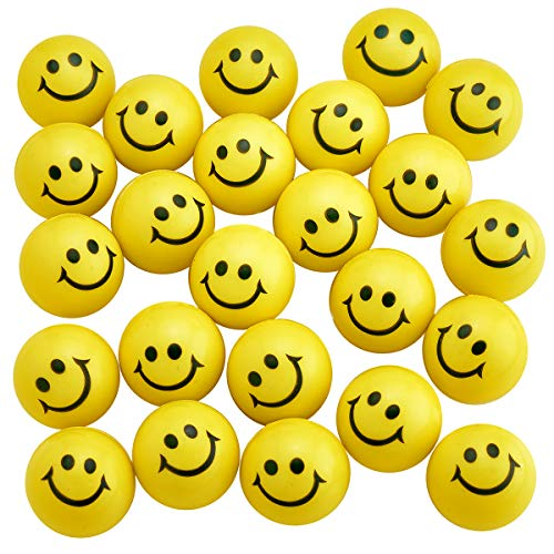 Kicko Yellow Smiley Face Stress Balls - Pack of 24 2 Inch Goofy Squeeze Balls for Stress Relief, Stocking Stuffers, Educational Game, Room ()