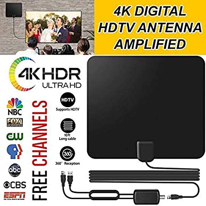 TV Aerial, Indoor TV Antenna, Digital TV Aerial Amplified 50 Long Miles  Range Access Support 4K 1080P HD/VHF/UHF Freeview Channels for All Types