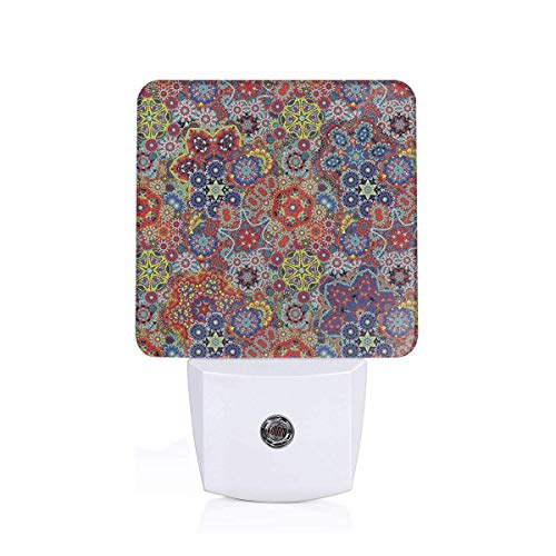 Colorful Plug in Night,Vintage Combined Nested Paisley Motif Oriental Feminine Style Cultural Eastern Batik Theme,Auto Sensor LED Dusk to Dawn Night Light Plug in Indoor for Childs Adults ()