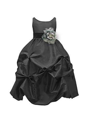 b993852ba64 WonderfulDress Black Taffeta Bubble Flower Girl DressPICK YOUR  SASH-Black Black-2