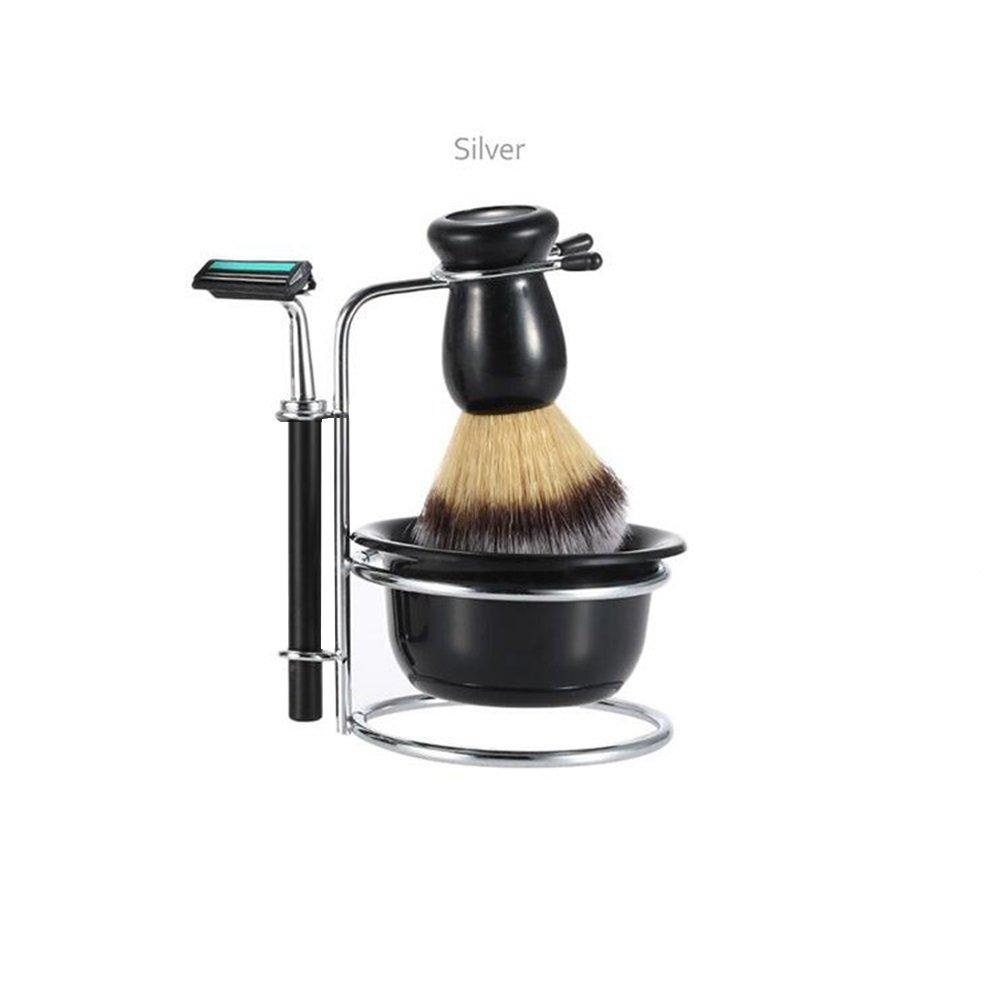 Zantec Shaver Kit 4 Pcs/ Set Shaving Gift Set Razor + Shaving Brush + Bowl + Stainess Steel Stand Holder Set Black
