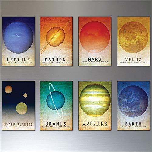 Mid Century Solar System illustrations fridge magnets ()