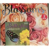 2 Pack of 12 Month 2020 Wall Calendars Blossoms Butterflies New Sealed