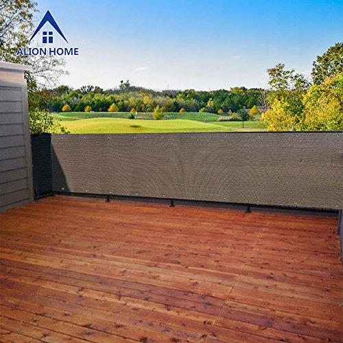 3 Windscreens - Alion Home Heavy Duty Privacy Screen Fence Mesh Windscreen for Backyard Deck Patio Balcony Pool Porch Railing 3 FT Height Brown/Mocha (3'x6')
