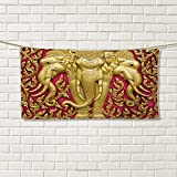 Chaneyhouse Elephant,Hair Towel,Yellow Toned Elephant Motif on Door Thai Temple Spirituality Statue Classic,Quick-Dry Towels,Fuchsia Mustard Size: W 8'' x L 23.5''