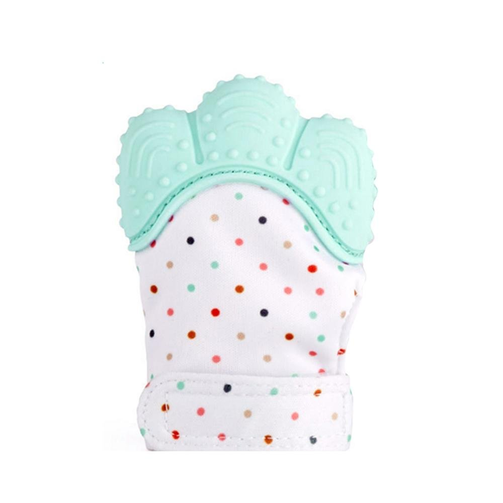 AOLVO Kids Munch Mitt Baby Teething Mitten,Self-Soothing Pain Relief Teething Glove BPA FREE Safe Food Grade Teething Mitt for Baby Infant Newborn