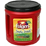 Folgers Simply Smooth Ground Coffee, 34.5 Ounce Tubs (Pack of 2)