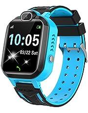 Barn SmartWatch – MP3 musik 7 spel barn smartklocka HD pekskärm SOS röstchatt skämt intelligent klocka med telefon kamera väckarklocka inspelare gåva för barn pojkar flickor (blå)