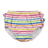 i play. Baby Girls' Ruffle Snap Reusable Absorbent Swim Diaper, Pink Wavy Stripe, 12 Months