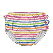 i play. Toddler Girls' Ruffle Snap Reusable Absorbent Swim Diaper, Pink Wavy Stripe, 3T