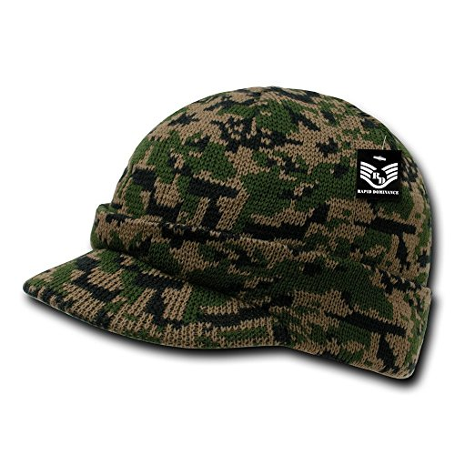 (Rapid Dominance Camouflage Jacquard Knit Visor Beanie Cap - Woodland Digital ,One Size ,Green)