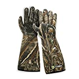 waterfowl gloves insulated - TideWe Decoy Gloves with Silicone Textured Surface, Waterproof Insulated 5mm Neoprene Men Hunting Gloves, Elbow Length Waterfowl Realtree MAX5 Camo Duck Decoy Gloves(Size L)