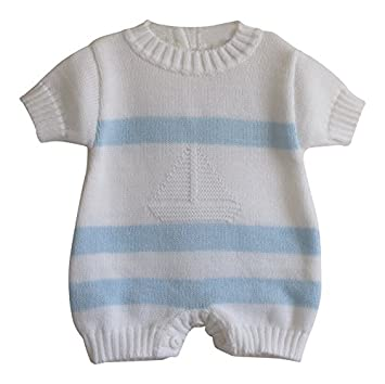 ca97786a897 Baby Boys Traditional Boat Knitted Romper Playsuit Outfit (3-6 Months)   Amazon.co.uk  Baby