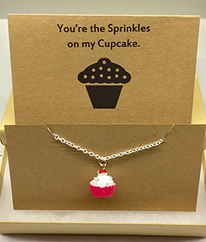 Cupcake Charm Necklace | Valentine's Love You're the Sprinkles on my Cupcake Card Gift Boxed by Dorinta