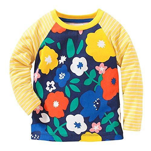 Birthday Yellow T-shirt (Girls Cotton Cartoon Long Sleeve T-shirt by Jobakids(Yellow,5T))