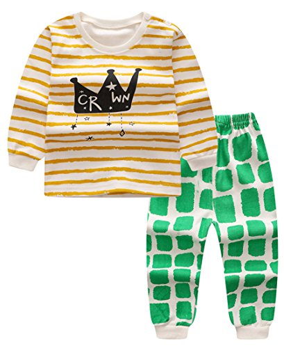 Unisex Baby Boys Girls 2-Piece Cotton Pajama Sleepwear Outfits Set(2-3 Years,Crown)