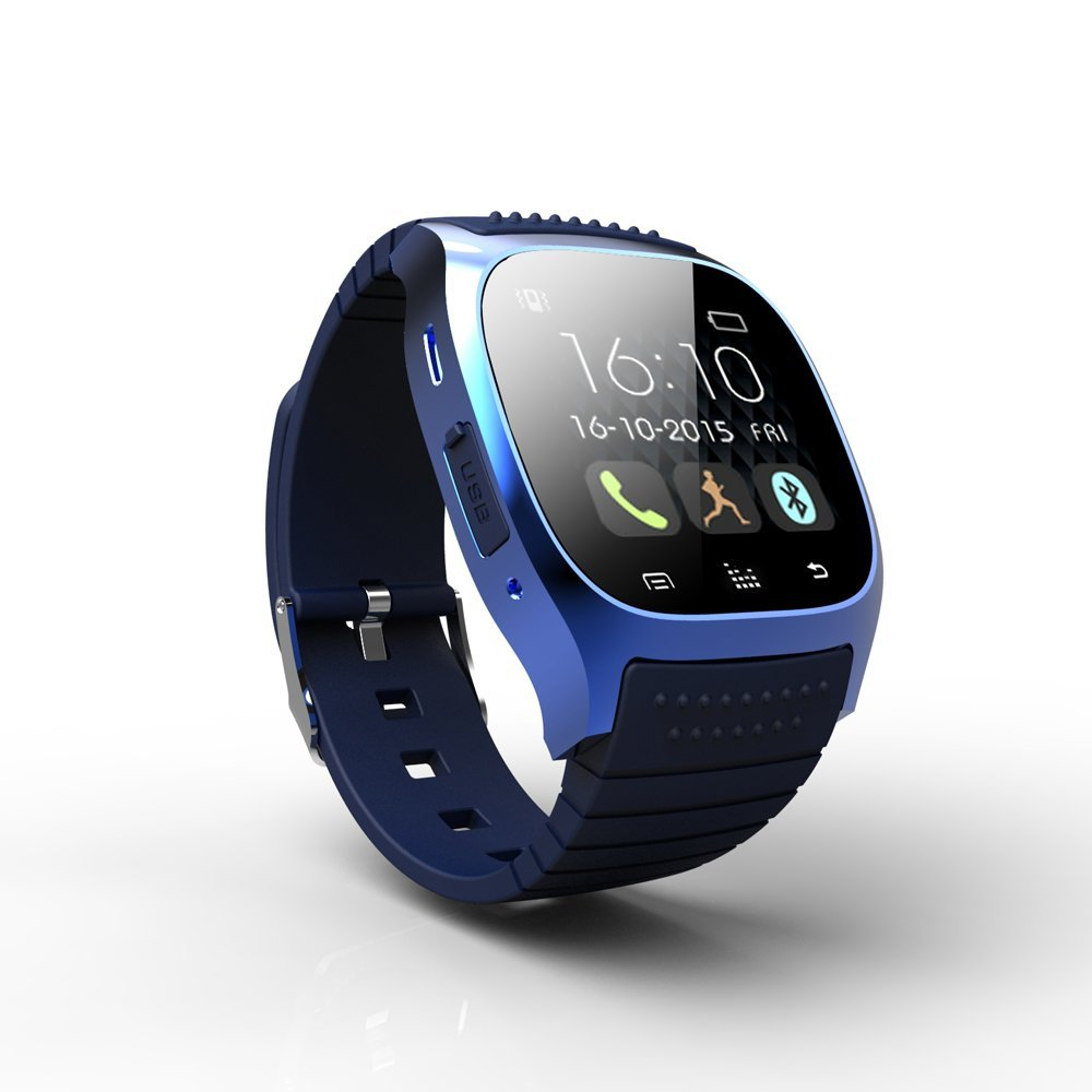 RWATCH M26S WEARABLE BLUETOOTH SMARTWATCH HANDS-FREE CALLS MEDIA CONTROL PERFECT SUPPORT FOR ANDROID AND APPLE DUAL SYSTEMS ULTRA-THIN BUSINESS CASUAL SMARTWATCH(BLUE)