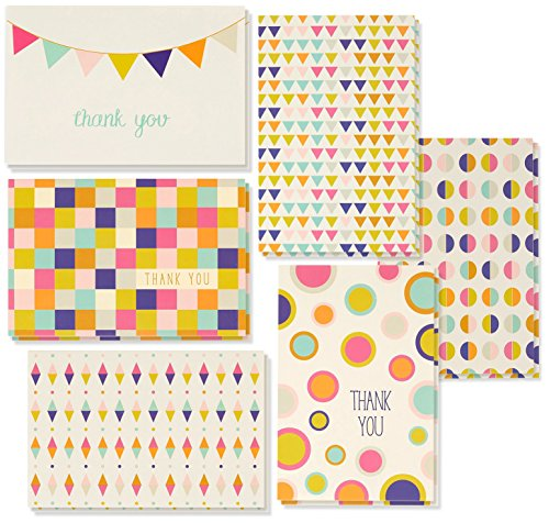 Thank You Cards - 48-Count Thank You Notes, Bulk Thank You Cards Set - Blank on the Inside, Unique Retro Geometric Design - Includes Thank You Cards and Envelopes, 4 x 6 Inches ()