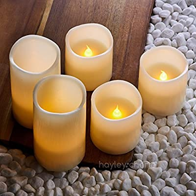 """Hayley Cherie - Real Wax Flameless Candles with Timer (Set of 5) - Ivory LED Candles 5"""" and 3"""" tall - Flickering Amber Flame - Battery Operated Pillar Candles - Unscented"""