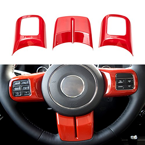 Allinoneparts Red Inner ABS Steering Wheel Cover Trim Guard Accessories for Jeep Wrangler JK (Inner Door Handle Cap)