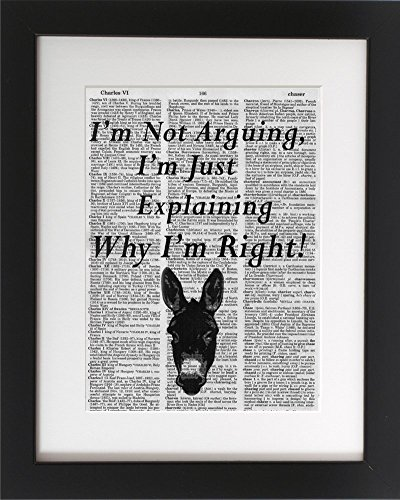 Amazon.com: I\'m Not Arguing - Upcycled Dictionary Meme Art Print ...