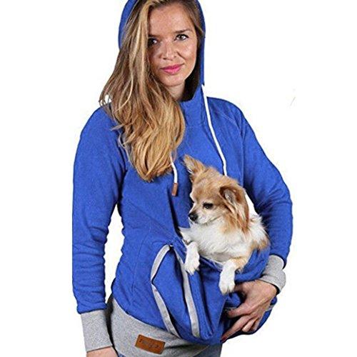 Price comparison product image Raptop Unisex Woman Man Kangaroo Pet Dog Cat Holder Carrier Pouch Pocket Cotton Blouse Sweater Shirt Top (Blue,  US:4)