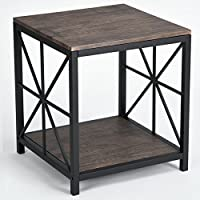 Vintage Dark Brown Black Metal Frame Side End Table with Lower Shelf