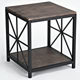 Dark Wood and Metal Coffee Table Vintage Dark Brown Black Metal Frame Side End Table with Lower Shelf