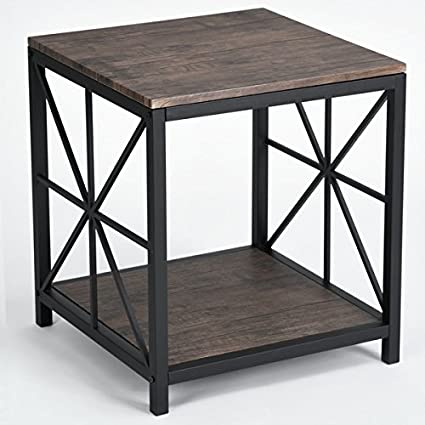 Amazon Com Vintage Dark Brown Black Metal Frame Side End Table With