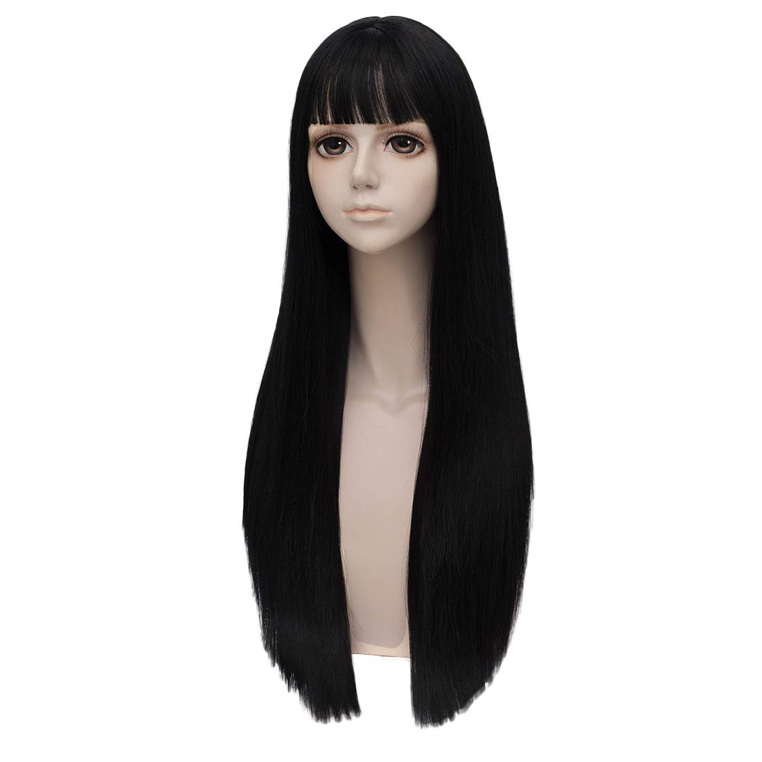 netgo Women Black Wigs Long Straight-Natural Cosplay Costume Wig with Bangs SY