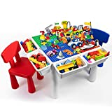 Byx- Building Block - Children's Toys Assembled Size granules Wooden Table 1-2-3-6 Years Old Multi-Functional Storage boy and Girl Game Learning Table - Toys