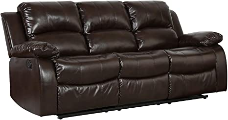 Amazon Com Blackjack Furniture 9393 Portico Collection Leather Air Mid Century Modern Living Room Reclining Sofa Brown Furniture Decor