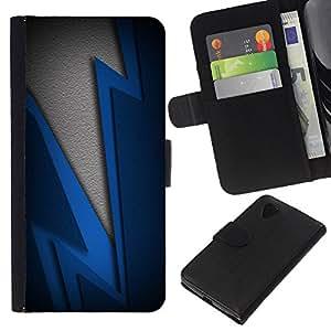 Stuss Case / Funda Carcasa PU de Cuero - Blue Lightning - LG Nexus 5 D820 D821