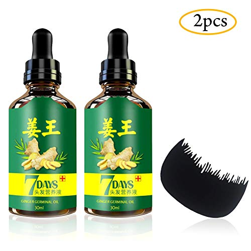 2PCS Ginger Germinal Oil Hair Growth Serum + Bonus Hair Comb | Ginger Hair Growth Serum | Ginger Essential Oil Hair Loss Treatment | Hair Regrowth Serum For Women & Men 30ML