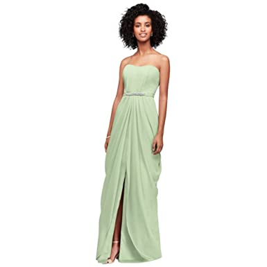 2015aa6ea365 David's Bridal Strapless Chiffon Bridesmaid Dress with Swag Skirt Style  F19650, Meadow, ...