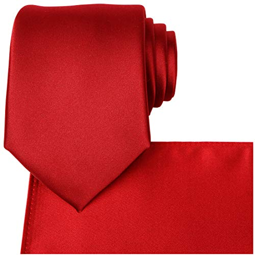 KissTies Red Tie Set Solid Satin Necktie + Pocket Square + Gift Box -