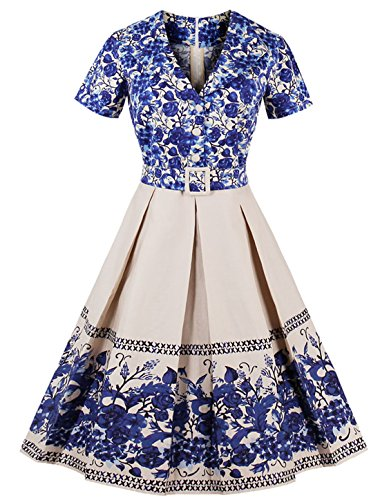 Belted Floral Belt (Wellwits Women's Shawl Collar China Blue Floral Pleated 1950s Swing Dress M)