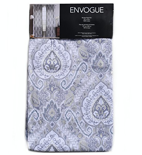 Envogue Pamela Damask Paisley Medallions Pair of Curtains 2 window panels 50 by 96-inch Taupe Dusty Blue Grey Beige Metallic Silver Ivory