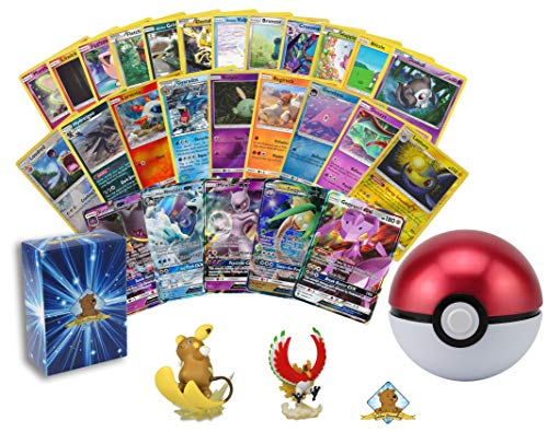 100 Pokemon Cards with 1 GX Ultra Rare - 1 Pokeball Tin with Suprise Pokemon Toy Figure Inside! Rares Foils! Includes Golden Groundhog Deck Box! (Best Pokemon Toys For 2019)