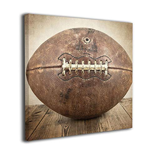 "Vintage Football On Vintage Background Modern Home Decor Wall Art Painting Wood Inside Framed Hanging Wall Decoration Abstract Painting Ready To Hang 20""x20"""