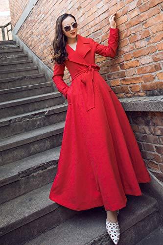 Mélange Coupe Taille Longue Pois automne Ceinture Printemps Femmes Cachemire Section Et Manteau Hiver vent L'amérique L'europe Laine Qiongqiong m YRfqAwf